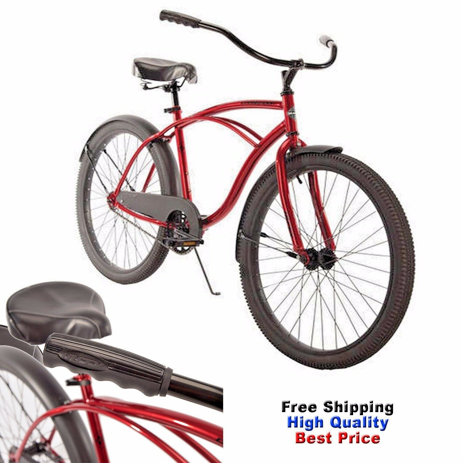 """Huffy Cruiser Bike 26"""" MEN'S Red COMMUTER COMFORT CITY BEACH BICYCLE Cycling"""