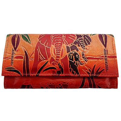 Genuine Leather India Shantiniketan Elephant Wallet Clutch Bag Womens Purse