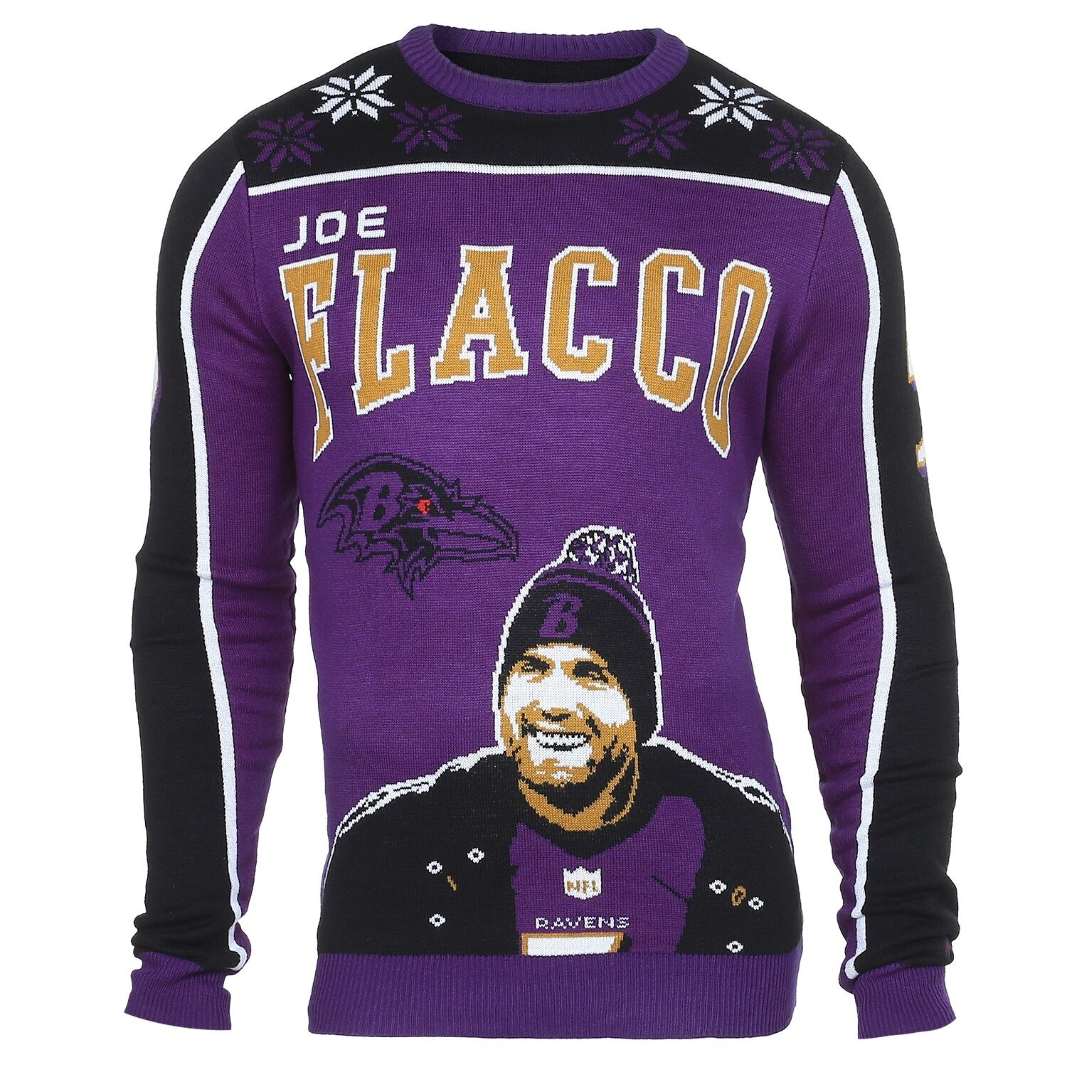 NFL Ugly Sweater Baltimore Ravens Joe Flacco Pullover Christmas Style