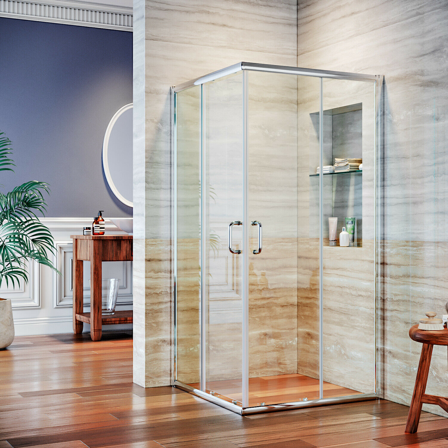 ELEGANT Semi Framed Bathroom Shower Sliding Glass Door Corne