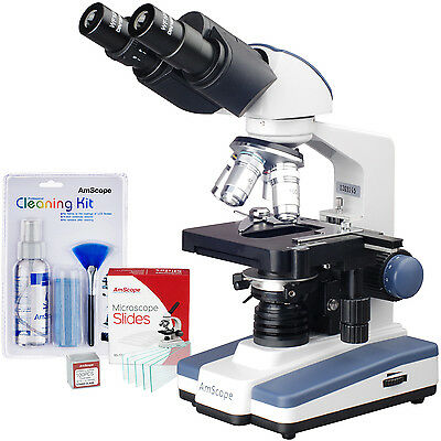 AmScope 40X-2500X LED Lab Compound Microscope w 3D Stage + Slides + Cleaning Kit on Rummage