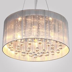NEW MODERN DRUM SHADE CRYSTAL CEILING CHANDELIER PENDANT LIGHT FIXTURE LIGHTING