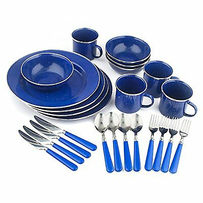 Camping Cooking Gear Equipment Cookware Set Backpacking 24 Pc Dinnerware