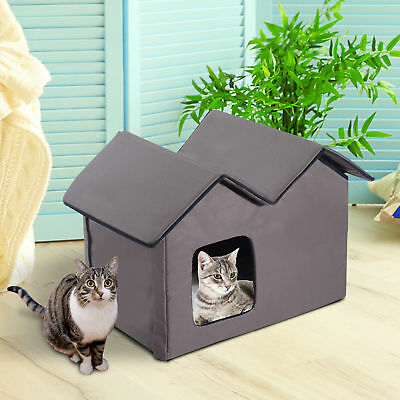 Outdoor Electric Heated Kitty Cat House Bed Waterproof Winter Shelter Warm