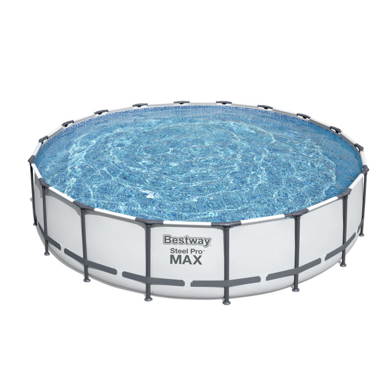 Bestway 18ft x 48in Steel Pro Round Frame Pool Set with Filter Pump and Ladder