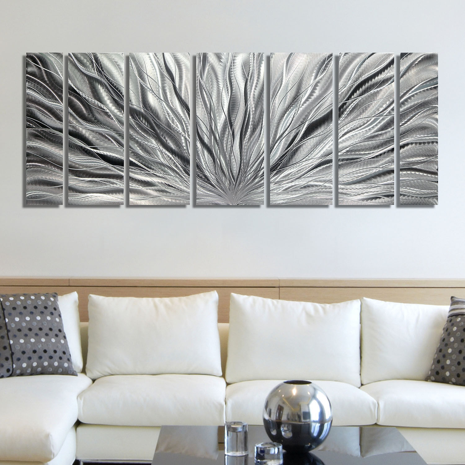 Modern Metal Wall Art, Abstract Wall Sculpture, Silver Home Decor by Jon Allen