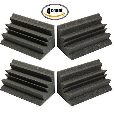 "12"" X 6"" X 6"" Acoustic Foam Bass Trap Studio Soundproofing Corner Wall 4 Pack"