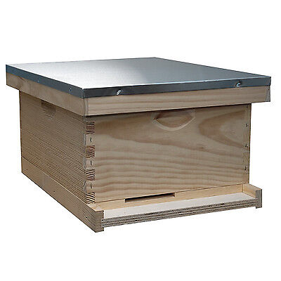 Bee Keeping Complete Hive Kit Honey Assembled Box 10 Frame Metal Roof Back Yard