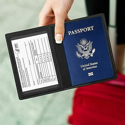 Leather Passport and Vaccine Card Holder Passport Holder FOR Vaccine Card Black