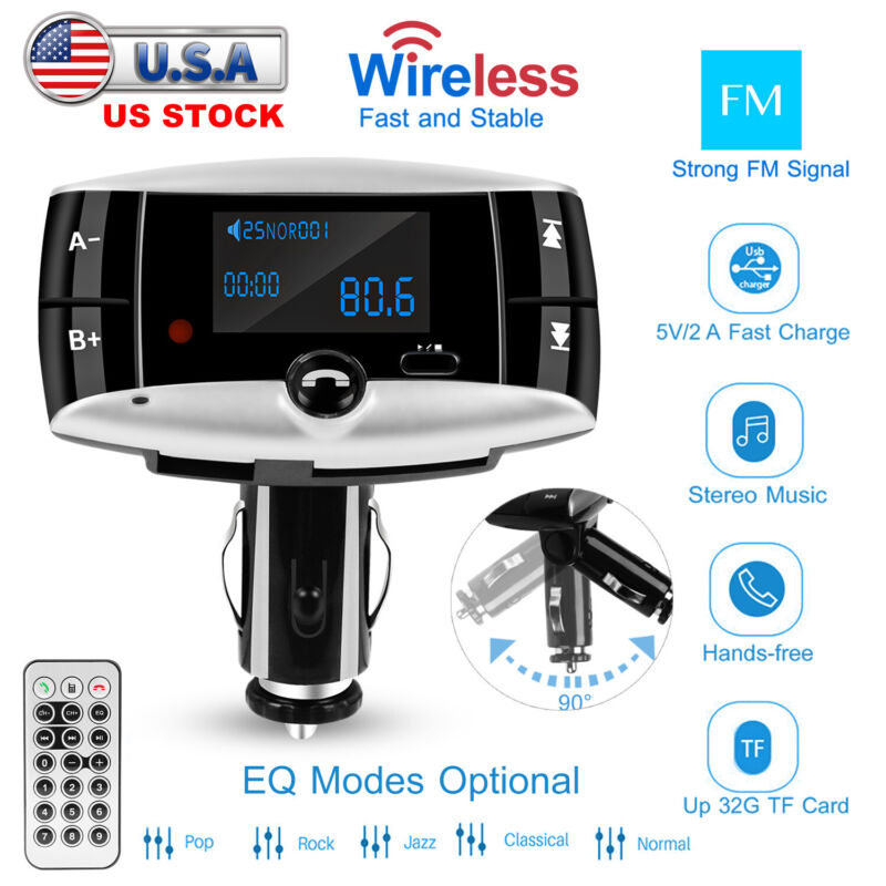 Wireless Car FM Transmitter USB Charger Hands-free Call MP3 Player Radio Adapter
