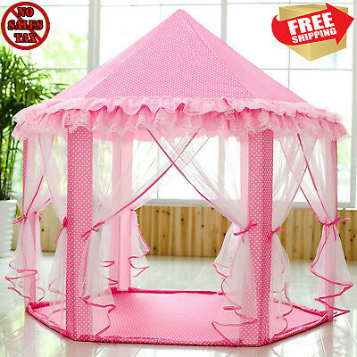 Big Pink Girls Princess Castle Tent with Large Star Lights LED String Playhouse for sale  Bell Gardens