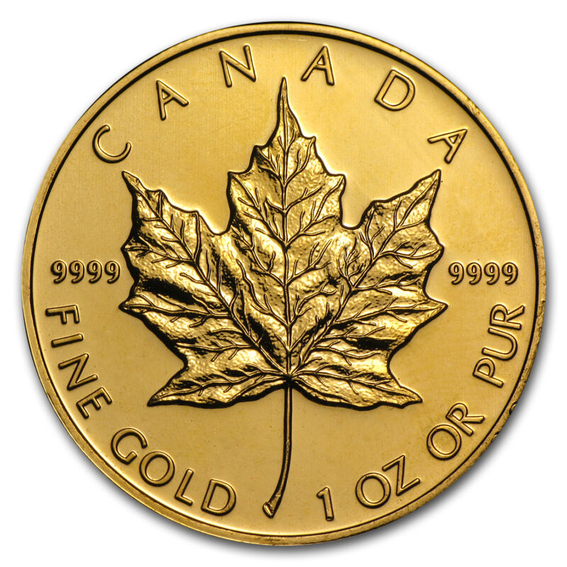 Random Year 1 oz Gold Canadian Maple Leaf Coin .9999 Fine