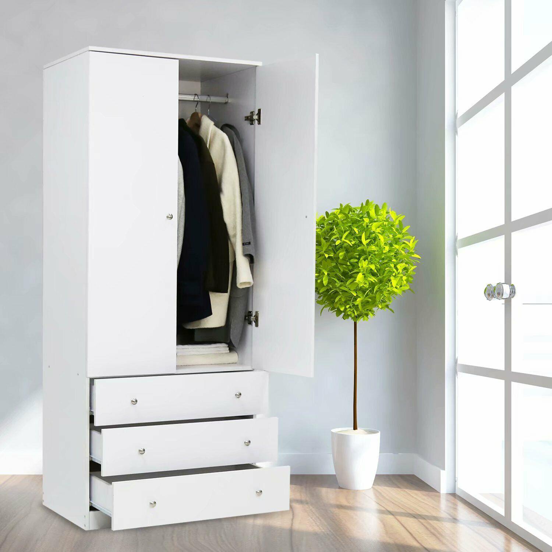 Wood Armoire Wardrobe Storage Cabinet Clothes Organizer Clos