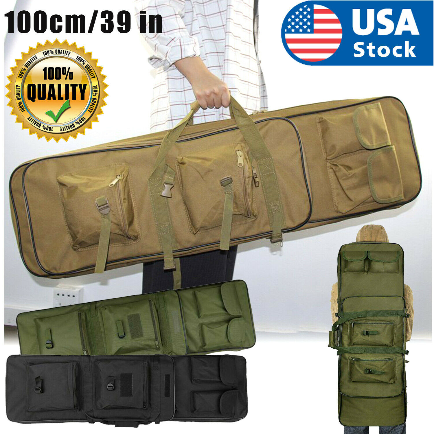 39″ Tactical Carbine Rifle Range Gun Carry Case Double Padded Backpack Molle Bag Cases