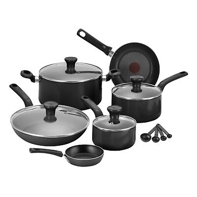 Tefal 7pc Excite Non-stick Pot Pan Fry Frypan Saucepan Frying Cookware Set Black