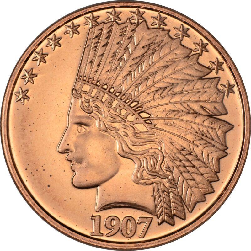 1 oz Copper Round - 1907 Indian