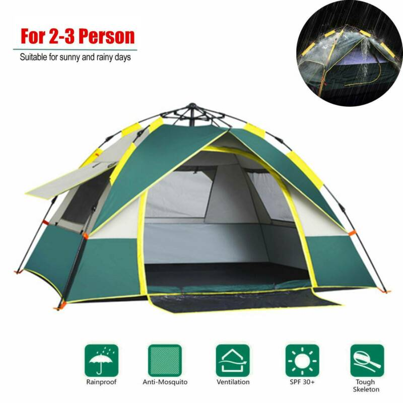Waterproof 2-3 Person Instant Camping Tent Green Automatic P