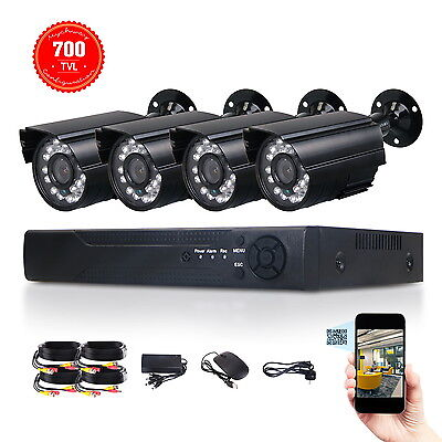 Cmos Cctv Security System (4Channel HDMI DVR Recoder Outdoor 1/4
