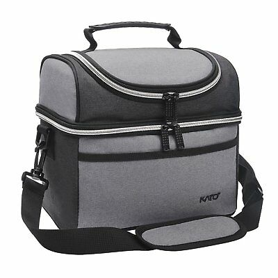 Insulated Lunch Cooler Bag Work School Men Women Thermal Lunch Box Tote Gray