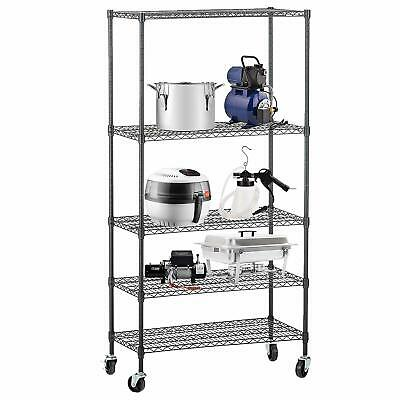 5 Tier 30x14x65 Adjustable Wire Shelves With Wheels Kitchen Shelving Black