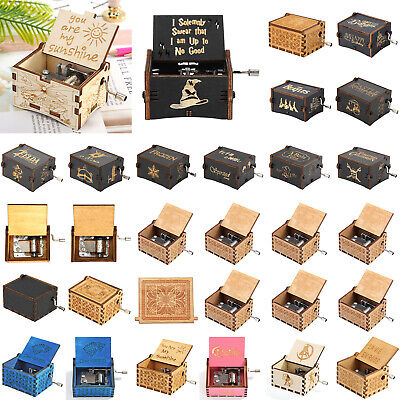 Mini Antique Wooden Music Box Hand Cranked Musical Case Christmas Birthday -