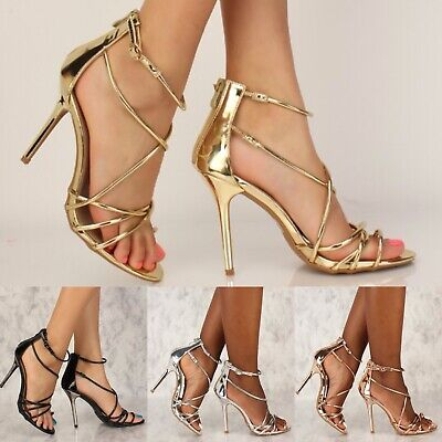 Prom Wedding Metallic Strappy High Heels Stiletto Sandals Shoes US 5.5-10 H228 High Heels Strappy Bridal Shoes