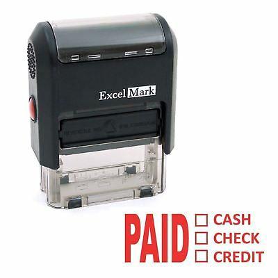 Excelmark Paid Cash Check Credit Self Inking Rubber Stamp A1539 Red Ink