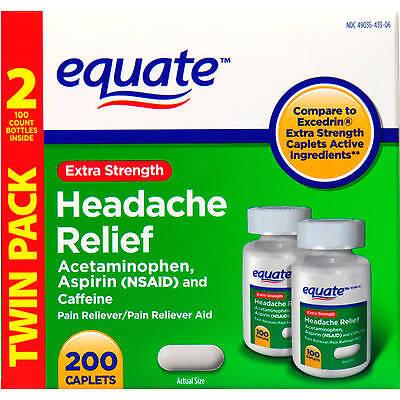 Equate Extra-Strength Headache Relief 200 Tabs, Acetaminophen Aspirin (Headache Acetaminophen)