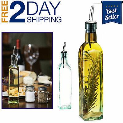 Vinegar Cruet Olive Oil Kitchen Cooking Set Glass Dispenser Bottle 16 Oz New
