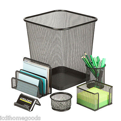 6 Pc Steel Mesh Desk Set Ofc-03491 In Black
