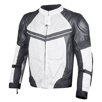 PRO LEATHER & MESH MOTORCYCLE WATERPROOF JACKET WHITE WITH EXTERNAL ARMOR Armored Mesh Motorcycle Jackets