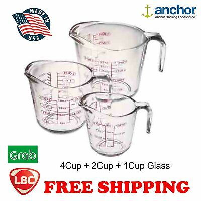 anchor 3pc glass measuring cup  not pyrex corelle kitchenaid
