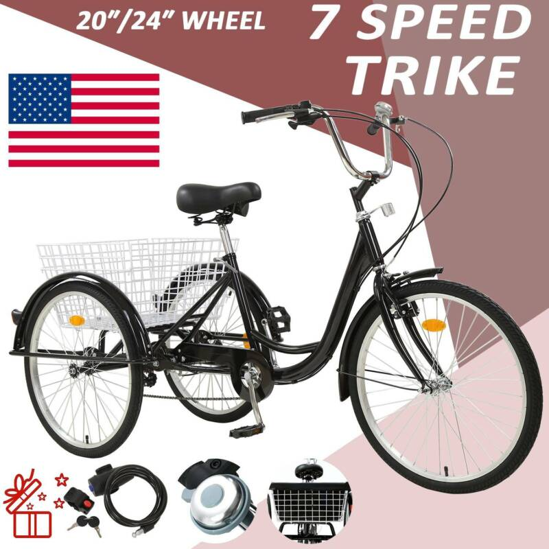 "20""/24""/26"" Adult 7-Speed Tricycle 3 Wheels Trike Bicycle Wi"