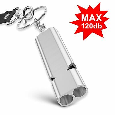 Outdoor Alloy Double Hole Whistle Emergency SOS Loud Whistle Key Chain Camping K
