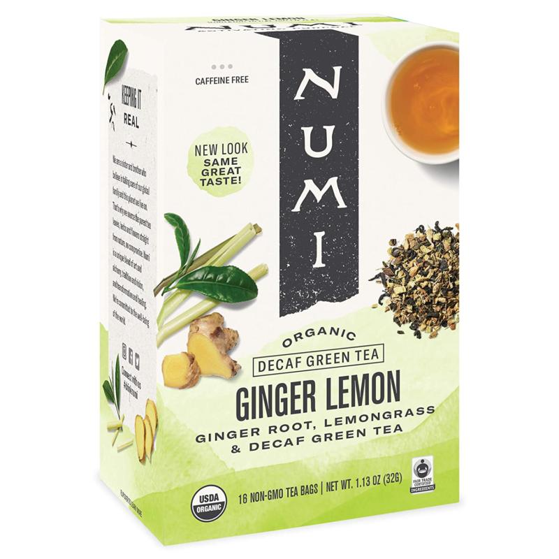 Numi Organic Tea Ginger Lemon, 16 Count  Box of Tea Bags, De