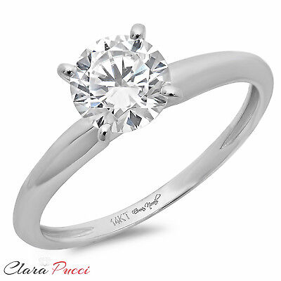 2.0 ct BRILLIANT Round CUT SOLITAIRE ENGAGEMENT RING Prong Set 14K White GOLD