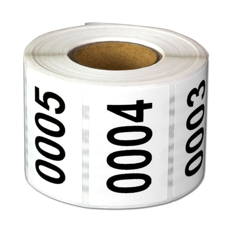 1 to 500 Consecutive Numbers Labels Inventory Control 0001 to 0500 Stickers -1PK