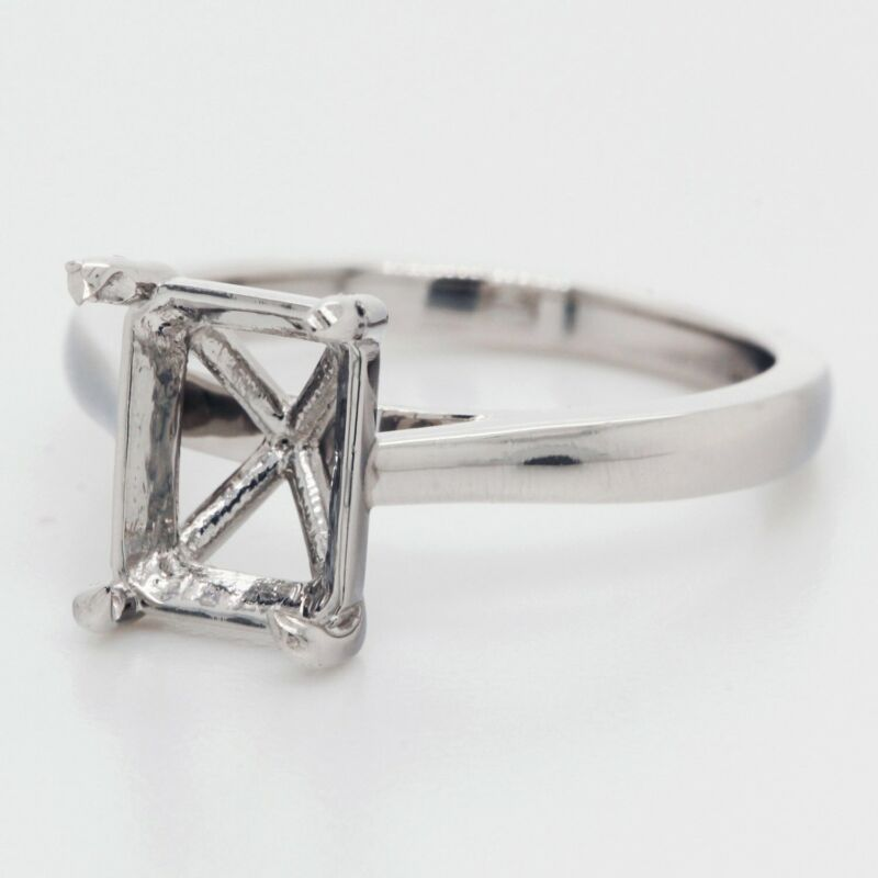Diamond Solitaire Engagement Ring Setting for an Emerald in Platinum - Landsberg