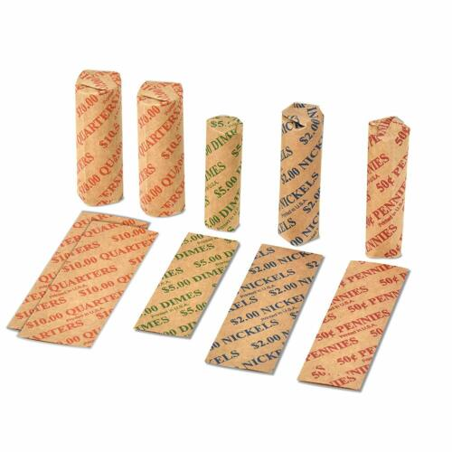 200ct Assorted Flat Coin Wrappers Tubes Rolls Quarters Pennies Nickels Dimes