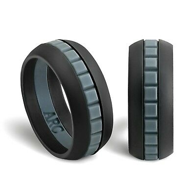 mens silicone wedding ring band arcrings black