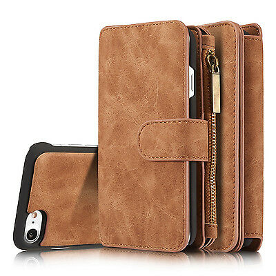 Flip Leather Removable Wallet Case Card Pocket Dual Cover Multifunction Zipper - Leather Dual Pocket