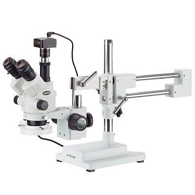 3.5x-180x Simul-focal Stereo Boom Stand Microscope Fluorescent Light 10mp Ca