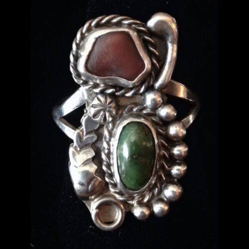 Vintage NA Green Turquoise Spiny Oyster Sterling Silver Ring 7 Hippie Festival