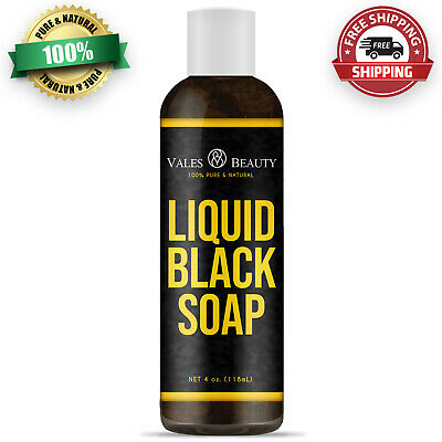 Raw African Liquid Black Soap Body & Face Wash 4 oz For Acne, Scars & Oily Skin