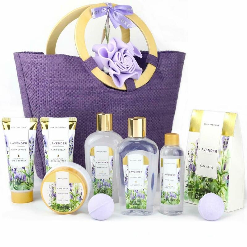 Bath & Body Gift Set for Women- Lavender Fragrance Spa Set in Weaved Gift Basket