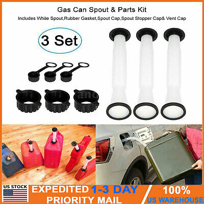 3 Sets Rubbermade Replacement Gas Can Spout And Parts Kit Blitz Rubbermaid Hot