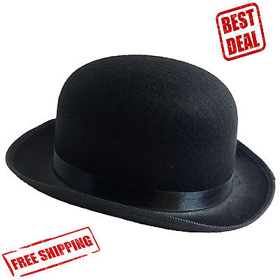 Derby Hat Traditional Black Bowler Men Fashion Felt Style Gentleman Costume Bob