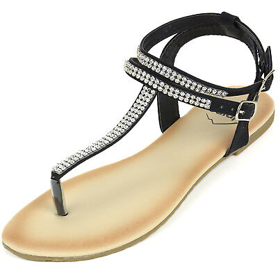 Alpine Swiss Womens Rhinestone T-Strap Sandals Ankle Strap Flat Summer Shoes Ankle Strap T-strap Sandals