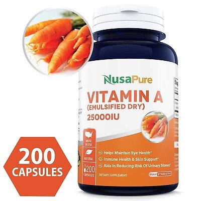 25000 Iu Vitamin (NusaPure Best Vitamin A 25000IU Powder 200caps (Non-GMO & Gluten Free))