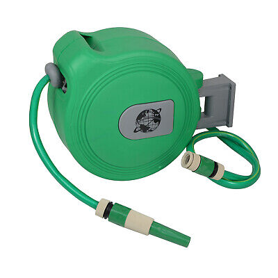 Auto Retractable Water Hose Wall Mounted Hose Reel 10M Garden Watering Hosepipe